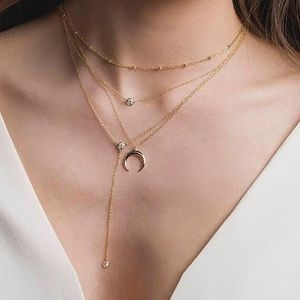 5 for $25 Gold Color Four Layer Moon Necklace